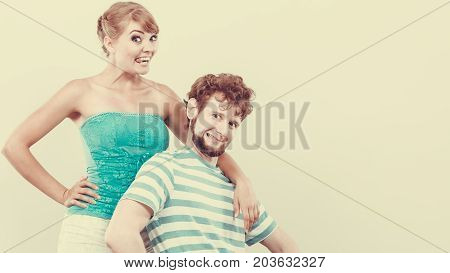 Funny Young Couple Making Silly Face
