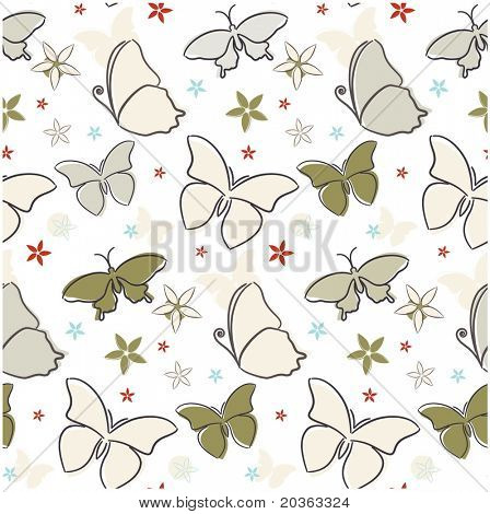 Seamless butterfly pattern (vector)