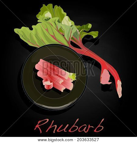 Fresh Rhubarb Isolated On Black