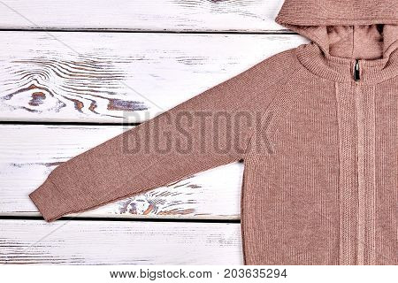Cotton knitted pullover. Brown hooded knitted cardigan for children on sale. High quality winter knit outfit.