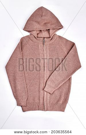 New hooded pullover isolated on white. Brown knitted sweater for childrens on sale. High quality kids knit clothes.