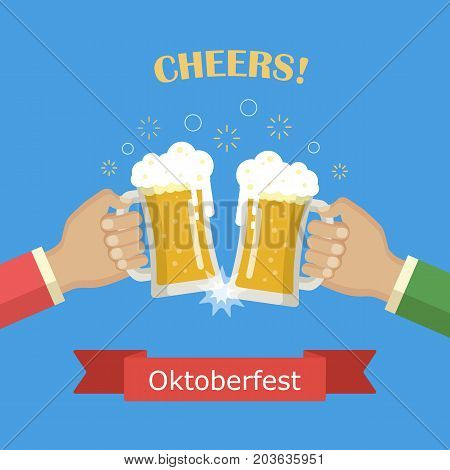 Concept of Beer Festival. Two man holds in his hands a mugs of beer. Oktoberfest beer festival. Vector image for web, poster, invitation to party - time to drink. Flat vector illustration.