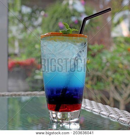 Blue Curacao Cocktail With Fresh Lemon