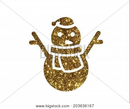 Isolated vector golden glitter Christmas snowman with scraf icon