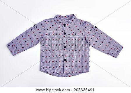 Infant boy denim grey dotted shirt. Long sleeve cute autumn shirt for baby-boy. Stylish cotton shirt for infant boy.