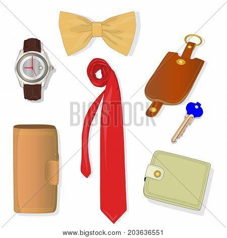 Men Accessories Set. Illustration.