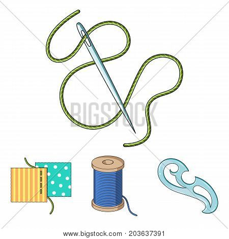 A spool with threads, a needle, a curl, a seam on the fabric.Sewing or tailoring tools set collection icons in cartoon style vector symbol stock illustration .