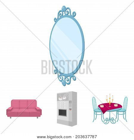 Coffee maker, served table in the restaurant and other  icon in cartoon style isometric. Soft comfortable sofa, wall mirror icons in set collection.