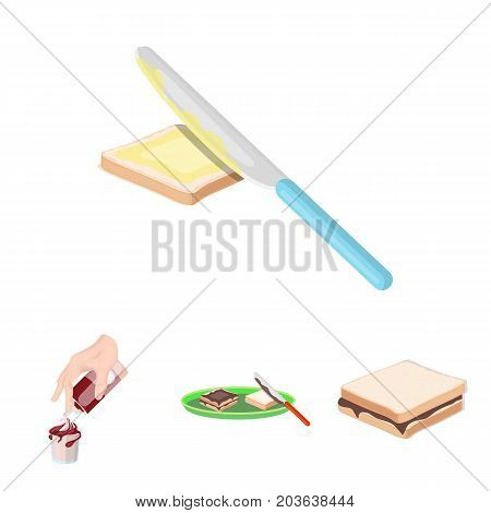 Dessert with cream, a sandwich and other food. Food set collection icons in cartoon style vector symbol stock illustration .