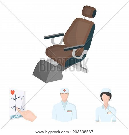 The attending physician, the nurse, the cardiogram of the heart, the dental chair. Medicineset collection icons in cartoon style vector symbol stock illustration .