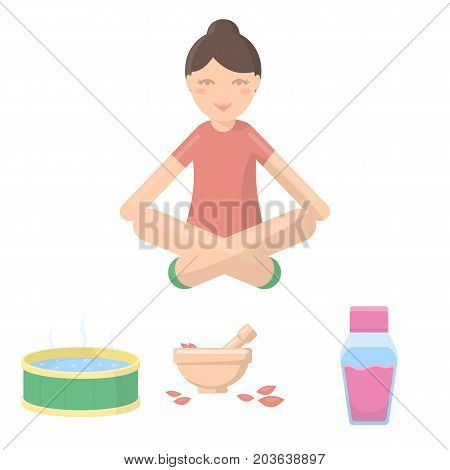 A bowl with flower petals and tolkushka, a bottle with ointment or cream, a pool with water, a woman in a yoga pose. Spa set collection icons in cartoon style vector symbol stock illustration .