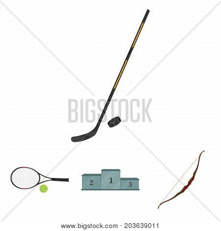 Pedestal of honor for the winners, bow for shooting arrows, racket with a ball for the tennis, hockey stick and puck. Sports set collection icons in cartoon style vector symbol stock illustration .