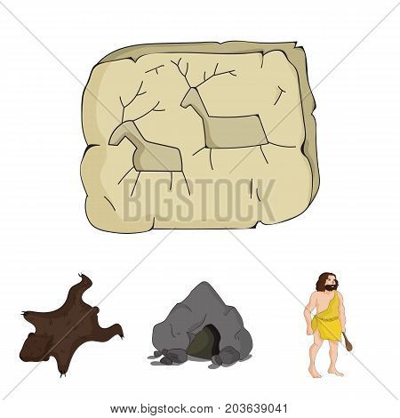 Ancient, world, stone age .Stone age set collection icons in cartoon style vector symbol stock illustration .