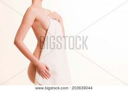 Beauty Woman In White Bath Towel.