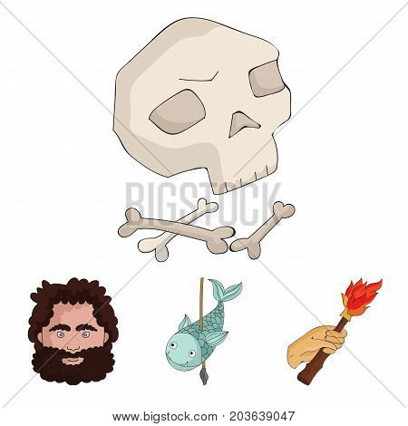 Primitive, fish, spear, torch .Stone age set collection icons in cartoon style vector symbol stock illustration .