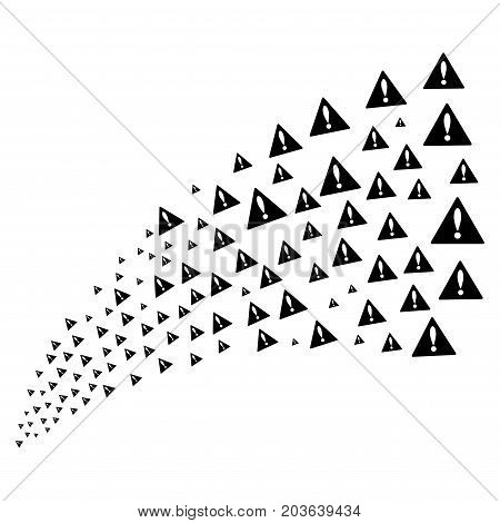 Source stream of warning icons. Vector illustration style is flat black iconic warning symbols on a white background. Object fountain made from pictograms.
