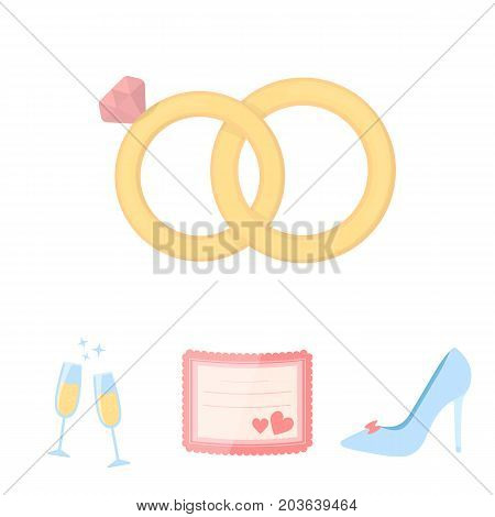Invitation, bride's shoes, champagne glasses, wedding rings. Wedding set collection icons in cartoon style vector symbol stock illustration .