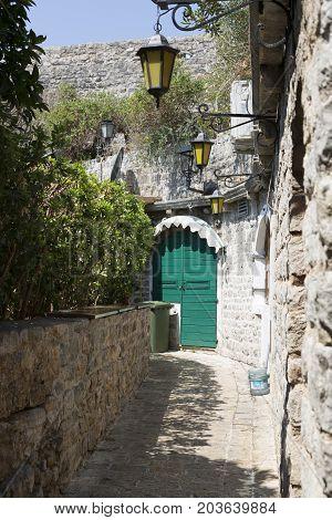 BUDVA, MONTENEGRO - AUGUST 08, 2017:Streets of the Old Town of Budva Montenegro