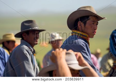 Mongolian Cowboys Hats Closeup Profiles