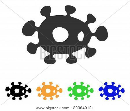 Bacteria icon. Vector illustration style is a flat iconic bacteria symbol with black, grey, green, blue, yellow color variants. Designed for web and software interfaces.