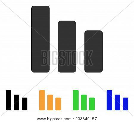 Bar Chart Decrease icon. Vector illustration style is a flat iconic bar chart decrease symbol with black, grey, green, blue, yellow color variants. Designed for web and software interfaces.