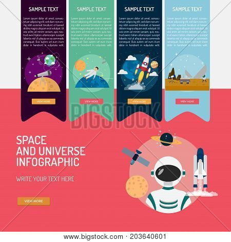 Infographic Space and Universe | Set of great infographic flat design illustration concepts for space, universe, science and much more.