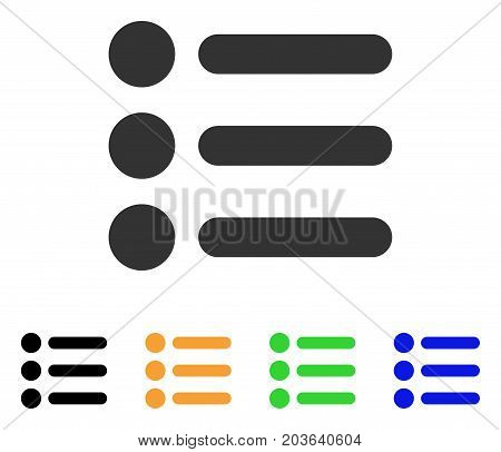 Items icon. Vector illustration style is a flat iconic items symbol with black, gray, green, blue, yellow color variants. Designed for web and software interfaces.