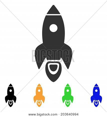 Rocket icon. Vector illustration style is a flat iconic rocket symbol with black, gray, green, blue, yellow color variants. Designed for web and software interfaces.