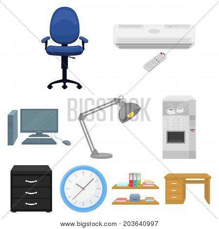 Office furniture and interior set icons in cartoon design. Big collection of office furniture and interior vector symbol stock illustration