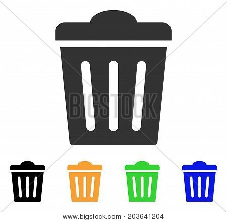 Trash Can icon. Vector illustration style is a flat iconic trash can symbol with black, gray, green, blue, yellow color variants. Designed for web and software interfaces.