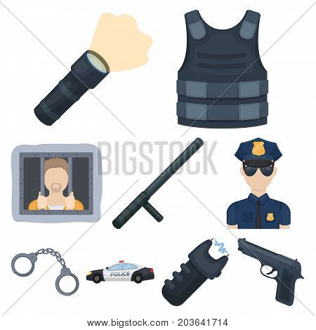 Police equipment, police, prisoners, protection of citizens.Police icon in set collection on cartoon style vector symbol stock web illustration.