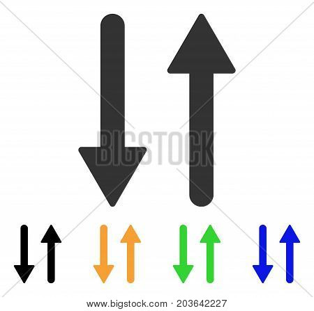 Arrows Exchange Vertical icon. Vector illustration style is a flat iconic arrows exchange vertical symbol with black, grey, green, blue, yellow color variants.