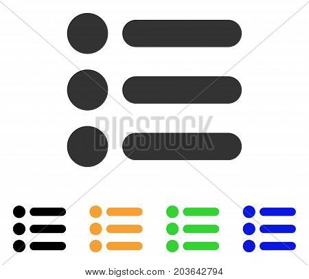 Items icon. Vector illustration style is a flat iconic items symbol with black, grey, green, blue, yellow color variants. Designed for web and software interfaces.