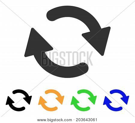 Refresh icon. Vector illustration style is a flat iconic refresh symbol with black, gray, green, blue, yellow color variants. Designed for web and software interfaces.