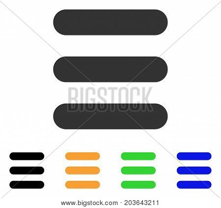 Stack icon. Vector illustration style is a flat iconic stack symbol with black, gray, green, blue, yellow color variants. Designed for web and software interfaces.