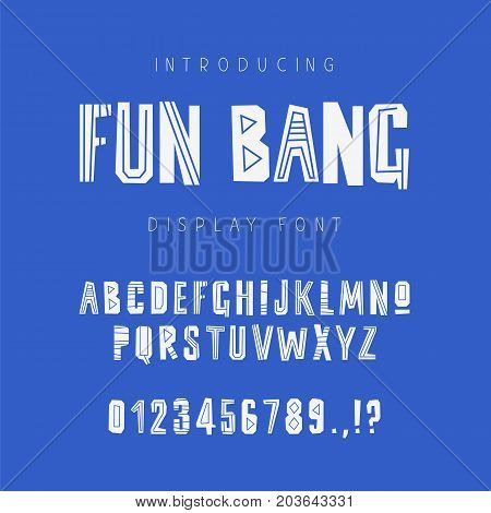 Kids geometric vector font on blue background. Uppercase letters numbers and symbols. Lettering typography. English alphabet. Elements for design.