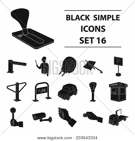 Parking zone set icons in black design. Big collection of parking zone vector symbol stock illustrationCar