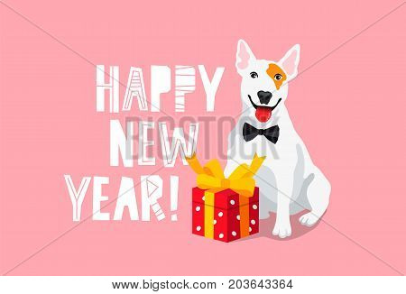 Happy New Year. White bull terrier with a red gift box. A great festive greeting card. Lettering. Vector illustration on a pink background.