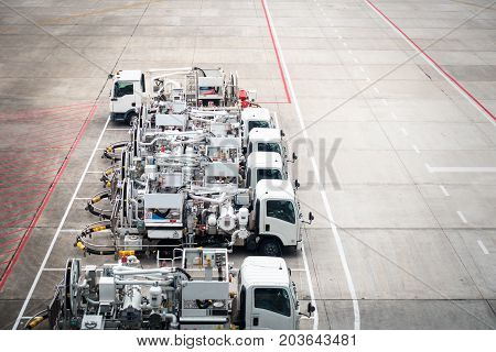 Row of viation refueling truck (Jet A1) for airplane Aviation Fuel Services