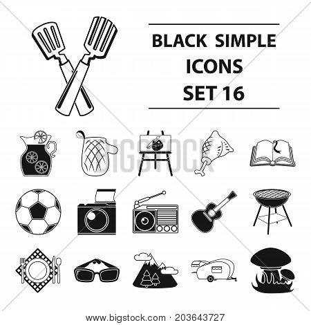 Picnic set icons in black design. Big collection of picnic vector symbol stock illustration