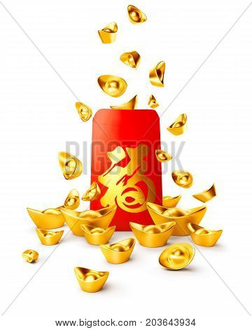 Red packet and chinese gold sycee ( yuanbao ) isolated on white Chinese calligraphy