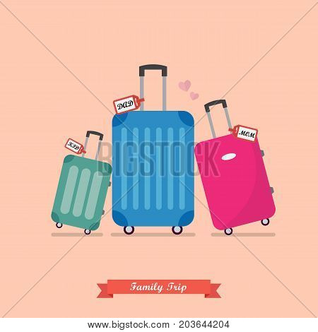 Family trip with Travel luggage set. Vacation and journey concept