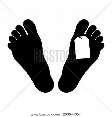 Feet with a tag in the mortuary, shade picture