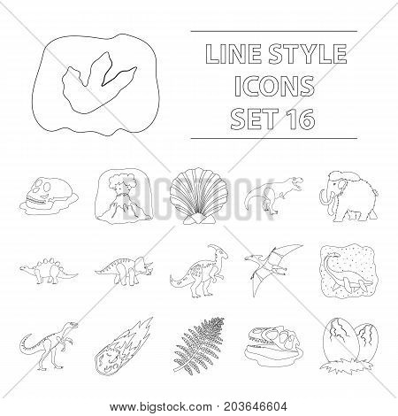 Dinosaurs and prehistoric set icons in outline design. Big collection of dinosaurs and prehistoric vector symbol stock illustration