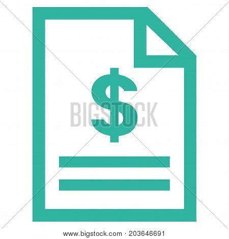 Invoice Page vector icon. Flat cyan symbol. Pictogram is isolated on a white background. Designed for web and software interfaces.