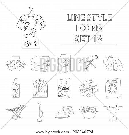 Washing machine, powder, iron and other equipment. Dry cleaning set collection icons in outline style vector symbol stock illustration .