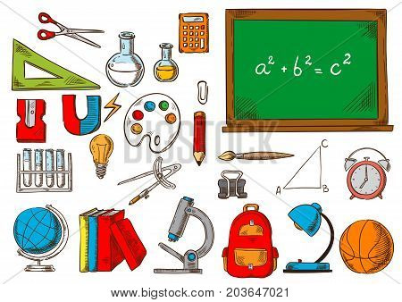 School supplies, learning tool sketches. Pencil, ruler and book, scissor, bag, sharpener, calculator and notebook, paint and globe, classroom chalkboard, backpack and brush tube and microscope