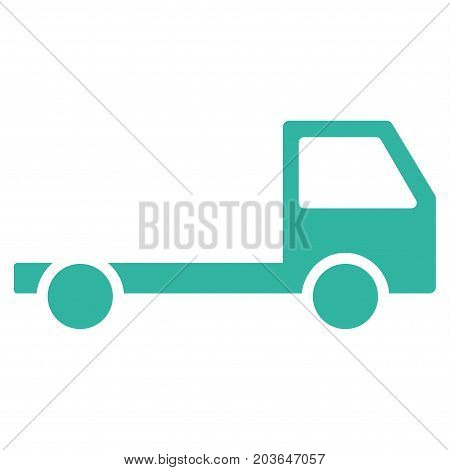 Truck Chassis vector icon. Flat cyan symbol. Pictogram is isolated on a white background. Designed for web and software interfaces.