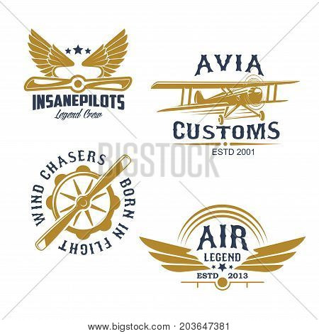 Aviation and airplanes retro symbols. Vintage biplane, airplane propeller and wings isolated icon for flying club emblem, aircraft business badge and air travel transportation themes design
