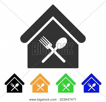 Food Court icon. Vector illustration style is a flat iconic food court symbol with black, gray, green, blue, yellow color versions. Designed for web and software interfaces.